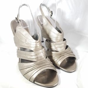 Marc Fisher Sandals Heels Metallic Leather sz 10